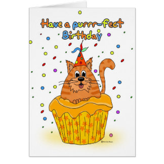 birthday card with ginger cupcake cat - have a pur