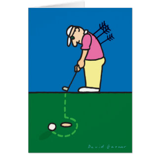 Birthday card with golfer illustration