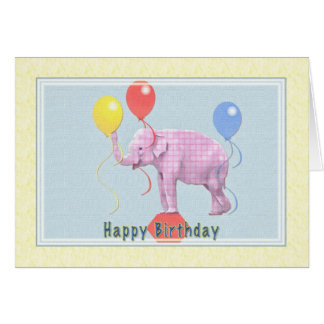 Birthday Card with Pink Elephant and Balloons