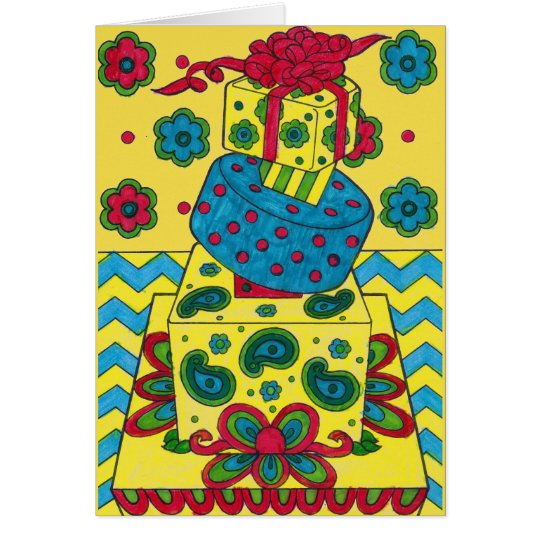 Birthday Card - Yellow Gifts