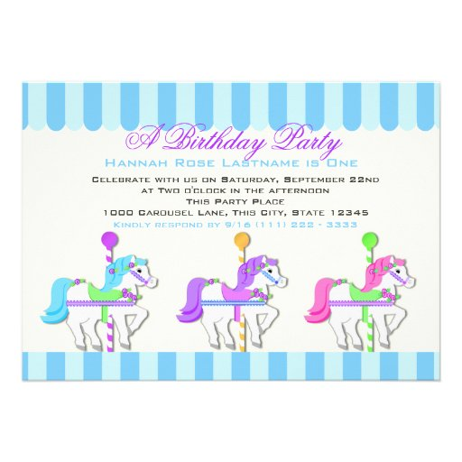 Birthday Carousel Ponies Personalized Announcement