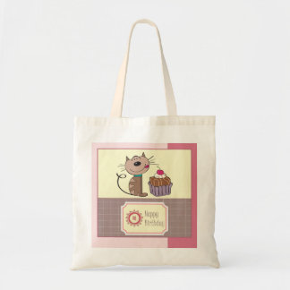 Birthday Cat And Cake Tote Bag