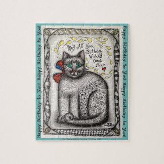 """Birthday Cat"" Jigsaw 8x10"" 110pc OR 11x14"" 252pc Puzzle"