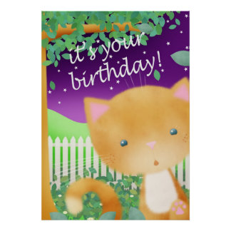 Birthday Cat poster print