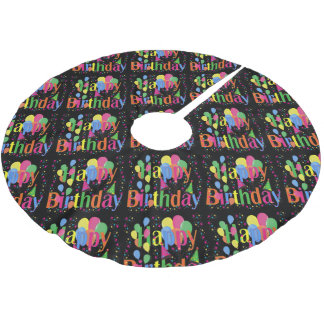 birthday-celebration brushed polyester tree skirt