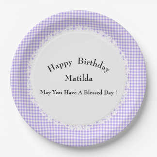 Birthday-Celebration(s)Template-Gingham-Multi-Use Paper Plate