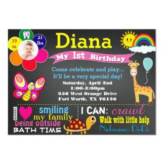 Birthday chalkboard invitation with photo