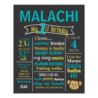 Birthday Chalkboard - Monkey, Little Monkey Poster