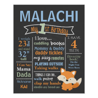 Birthday Chalkboard - Woodland, Red Fox, Fox Poster
