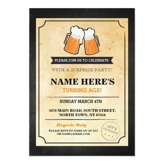 Birthday Cheers Beers Chalk Bar Invite