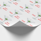 Birthday Cheers Martini Glass Olive Cocktail White Wrapping Paper