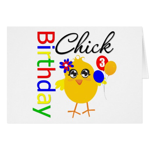 Birthday Chick 3 Years Old Card