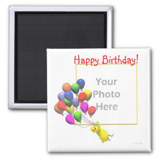 Birthday Chicken and Balloons (photo frame) Magnet