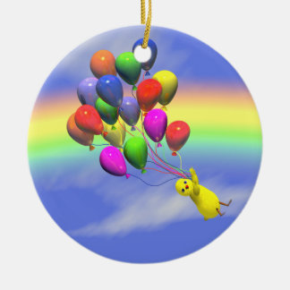 Birthday Chicken Flight Ceramic Ornament