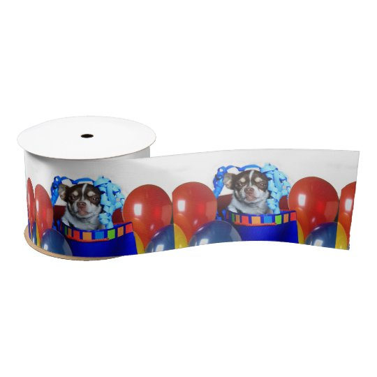 "Birthday Chihuahua Dog 3"" grosgrain ribbon"