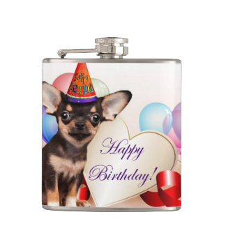 Birthday Chihuahua Dog Hip Flask