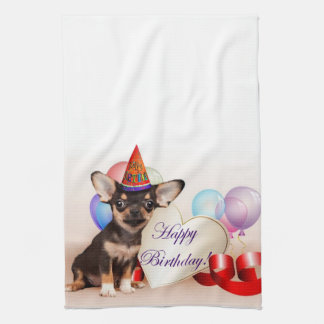 Birthday Chihuahua dog kitchen towel