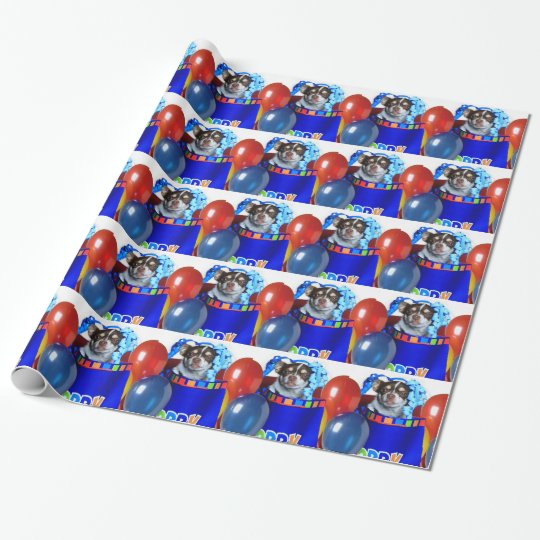 Birthday Chihuahua dogs wrapping paper