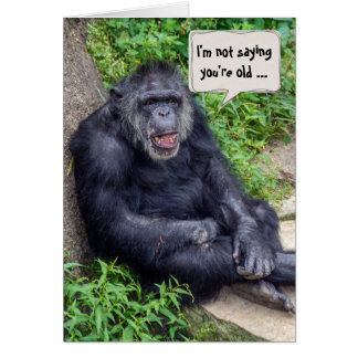 birthday chimpanzee with grin card