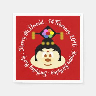 Birthday - Chinese Female Hat 鮑 鮑 Paper Napkin