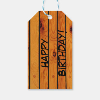 Birthday Classic brown wooden shipdeck Gift Tags
