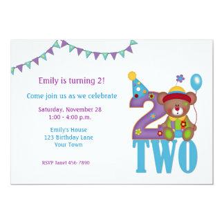 Birthday Clown Bear, Two, Birthday Invitation
