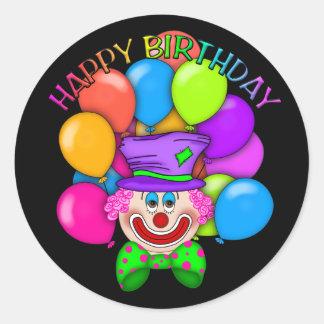 Birthday Clown unisex party sticker