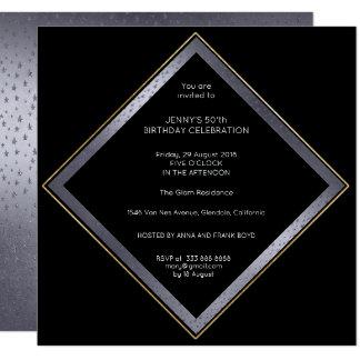 Birthday Corporate Party Gray Black Geometric Gold Card