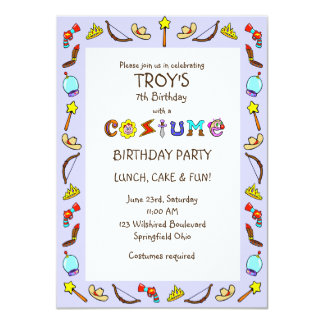 "Birthday Costume Party Children's 4.5"" X 6.25"" Invitation Card"
