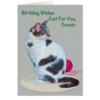 Birthday, Cousin, Green-Eyed Cat Card