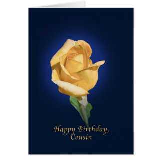 Birthday,  Cousin, Yellow Rose Bud Card