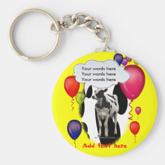 Birthday Cow Theme Party Basic Round Button Keychain