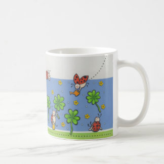 Birthday cup with clover and beetles