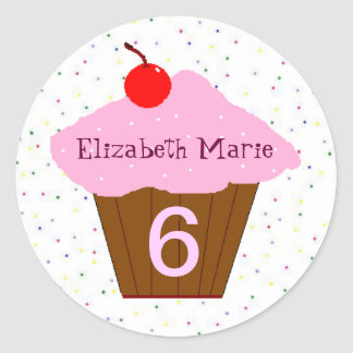 Birthday Cupcake Age and Name Classic Round Sticker