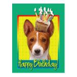 Birthday Cupcake - Basenji Postcard