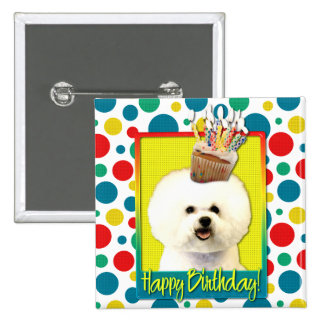 Birthday Cupcake - Bichon Frise 2 Inch Square Button