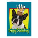 Birthday Cupcake - Boston Terrier Greeting Card