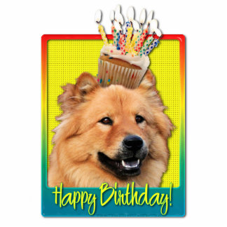 Birthday Cupcake - Chow Chow - Cinny Standing Photo Sculpture