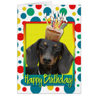 Birthday Cupcake - Dachshund - Winston Greeting Card