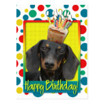 Birthday Cupcake - Dachshund - Winston Postcard