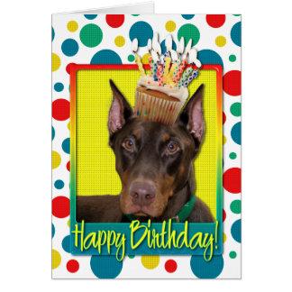 Birthday Cupcake - Doberman - Red - Rocky Card