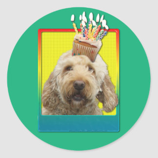 Birthday Cupcake - GoldenDoodle Classic Round Sticker
