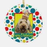 Birthday Cupcake - GoldenDoodle Round Ceramic Ornament