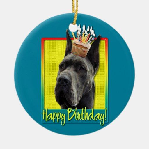 Birthday Cupcake - Great Dane - Grey Christmas Tree Ornaments