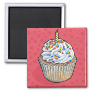 Birthday cupcake magnet
