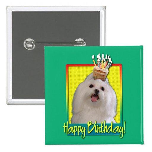 Birthday Cupcake - Maltese Pinback Buttons