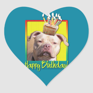 Birthday Cupcake - Pitbull - Jersey Girl Heart Sticker