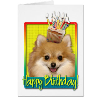 Birthday Cupcake - Pomeranian Greeting Card
