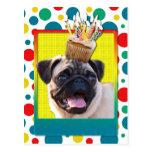 Birthday Cupcake - Pug Postcard