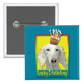 Birthday Cupcake - Saluki Pinback Buttons